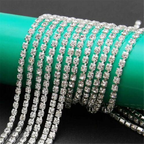 1M Cristal Estrás Cadena Joyería Coser Artesanías Recorte cerca Hágalo usted mismo 2-4mm