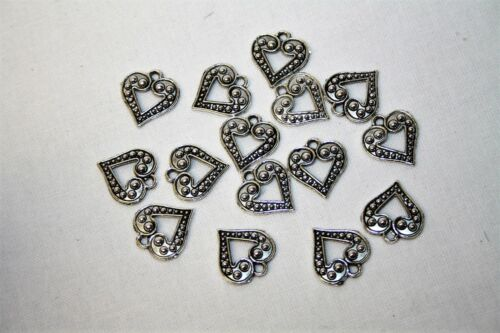 15 Silver Embossed Metal Open Heart Charms Antique Style Jewellery Craft