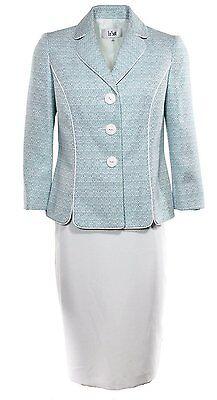 1162-2 Le Suit Donna 3 Bottoni Petali Colletto Giacca In Tweed Abito Con Set,14