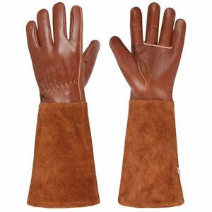 Long Sleeve Gardening Gloves Thorn Proof Leather Gauntlet Garden Pruning Gloves