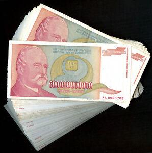 Yugoslavia-BUNDLE-LOT-100-notes-P137-500-Billion-Dinara-1993-HYPERINFLATION-F-XF