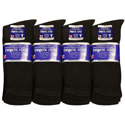 Diabetic Socks  Men Crew Length 9-11, 10-13, 13-15 Black Grey & White lot #55