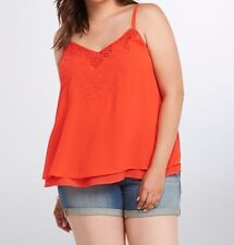 Torrid Siren Red Embroidered Chiffon Layered Cami Top 4X 26 4 #51684