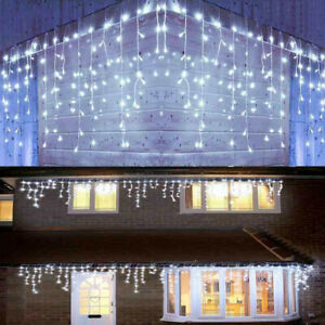 Blue Icicle Hanging Snowing Curtain Wall String Lights Fairy Xmas Indoor Outdoor