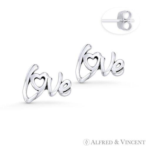"""/""""Love/"""" Word Script /& Heart Charm Stud Earrings in Oxidized .925 Sterling Silver"""