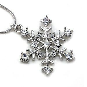 Snowflake-Winter-Bridesmaid-Bridal-Wedding-Clear-Crystal-Stone-Necklace-Pendant