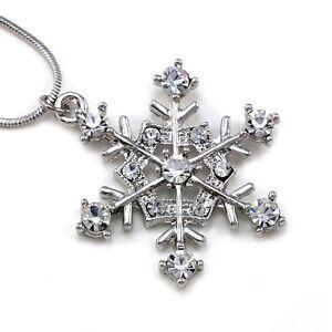 Snowflake-Winter-Bridesmaid-Bridal-Wedding-Clear-Crystal-Stone-Necklace-Pendant
