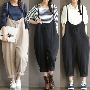 9a4155acc946 Casual Women s Loose Linen Pants Cotton Jumpsuit Strap Harem ...