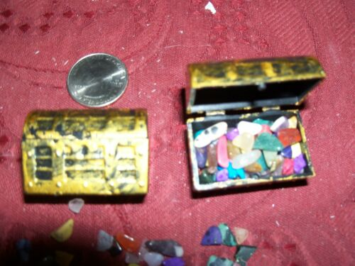 Details about  /mini pirate treasure chest  full of small gemstones