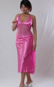 Lingerie-Plus-Size-Hot-Pink-Charmeuse-Gown-Size-1X-2X-3X