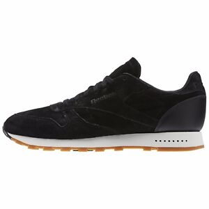 Reebok Men s CLASSIC LEATHER SUEDE GUM SOLE SG Shoes Black BS7892 b ... d3cbf9385