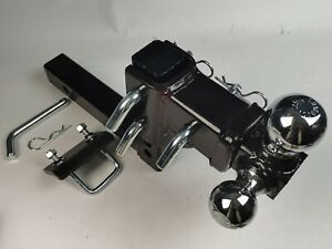 """HD 3 BALL ADJUSTABLE DROP-TURN TRAILER TOW 2/"""" HITCH MOUNT TOWING TRUCK SOLID"""