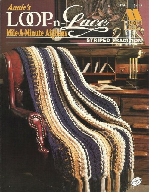 Afghan Crochet Patterns Striped Tradition Annies Mile A Minute Ebay