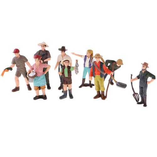 9 x HO Skala Bemalte Figuren Stehende Menschen Landarbeiter Modell Spielzeug
