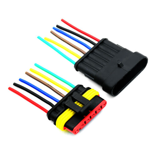 Electrical Car Connector Plug Waterproof M /& F With Wire Dia.2.4mm 18 AWG 5Pcs