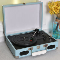 Vintage Portable Briefcase Vinyl Record Player Turntable With Built-in Speakers