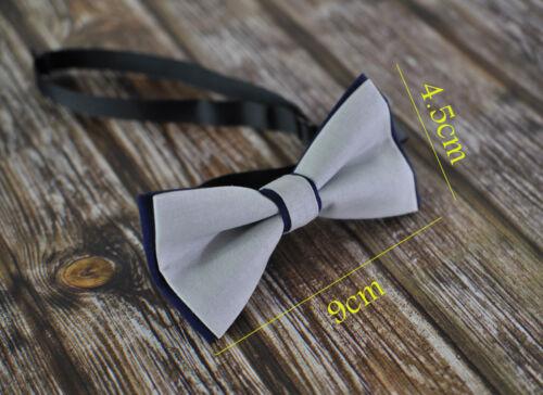 Boy Kids Baby Cotton Grey Silver Navy Blue Bow Tie Bowtie Wedding 1-6 Years Old