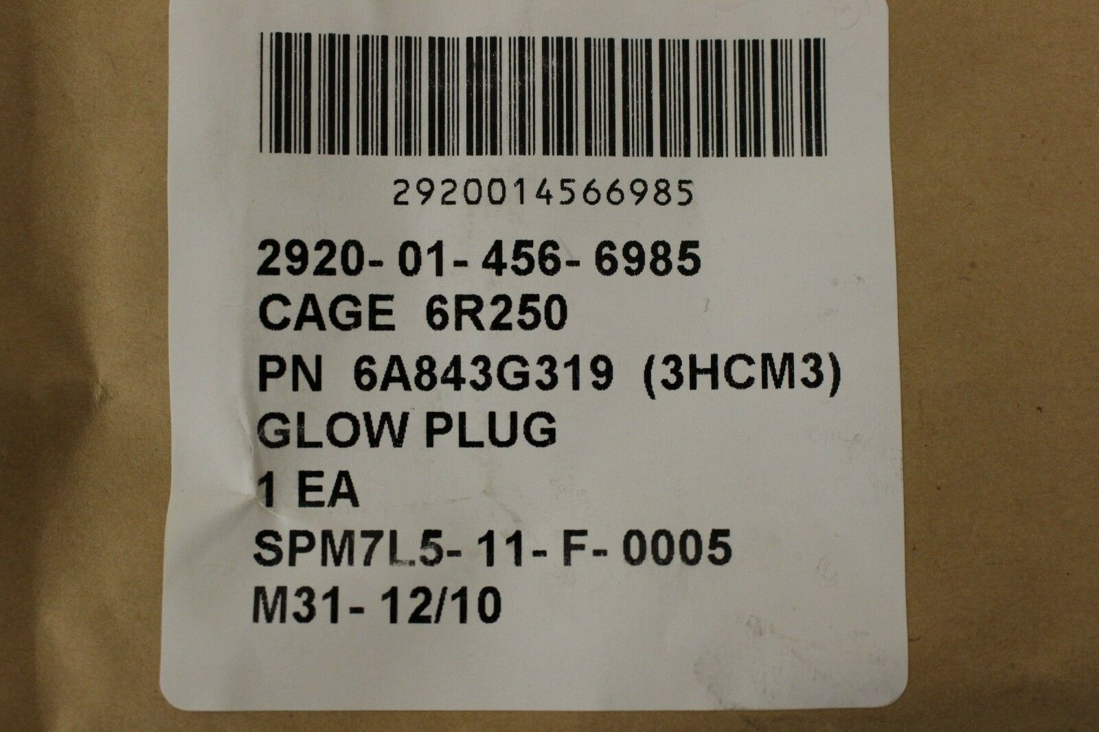 Detroit Diesel 8V71T Glow Plug PN 6A843G319 New Old Stock 2920-01-456-6985