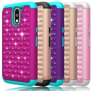 For-Motorola-Moto-G4-Plus-Moto-G4-Case-Bling-Armor-Hybrid-PC-Rubber-Phone-Cover