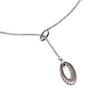 Collier Négligé Argent Massif 925 Et Zirconiums Blancs Bijou Necklace A1