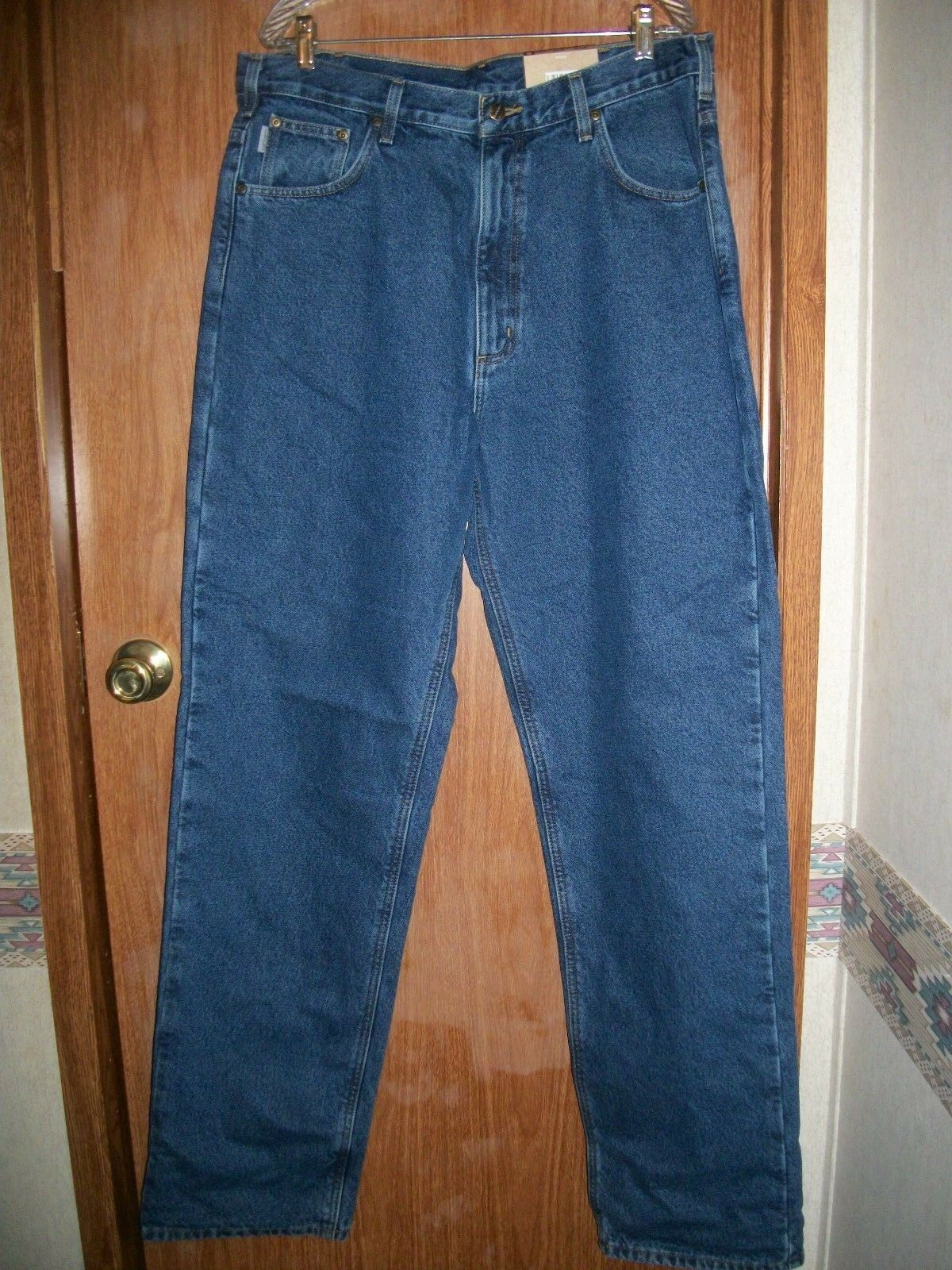 NWT CARHARTT blueE FLANNEL LINED STRAIGHT LEG JEANS SIZE 38 X 36 TALL SIZE