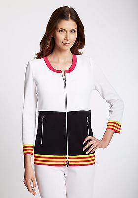 New Exclusively Misook Black White Red Zipper Front Sweater Jacket Dawn Medium Ebay