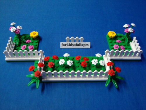 Garden//Yard Lot White Picket Fence Green 6x8 Base Plates Lego Flowers Pink Red