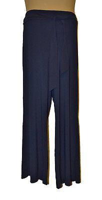 Bnwt Taglia Xl Nina Leonard Pantaloni A Gamba Larga Blu Scuro Con Cintura Cravatta-mostra Il Titolo Originale Forte Resistenza Al Calore E All'Usura Dura