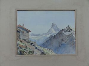 Original-watercolour-painting-of-Matterhorn-from-the-Dom-Hut-signed-Leigh-Parry