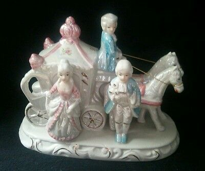 Vintage Ceramic Victorian figurine people and Horse Drawn Carriage Dresden style