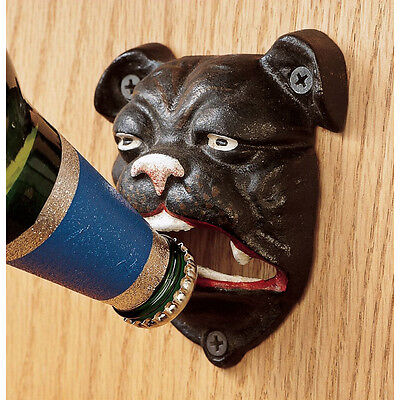 British Antique Replica Cast Iron Bulldog Wall Mount Beer Bar Pub Bottle Opener