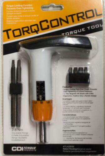 CDI TorqControl Adjustable Torque Screwdriver Set with 6 Bits 2Nm to 8Nm TLA28NM