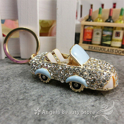Fashion New Lovely Cute Cars Dazzling Crystal Purse Bag Keyring KeyChain Gift