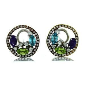 Vintage-18K-White-Rose-Gold-0-88ctw-Diamond-Multi-Stone-Halo-Cluster-Earrings