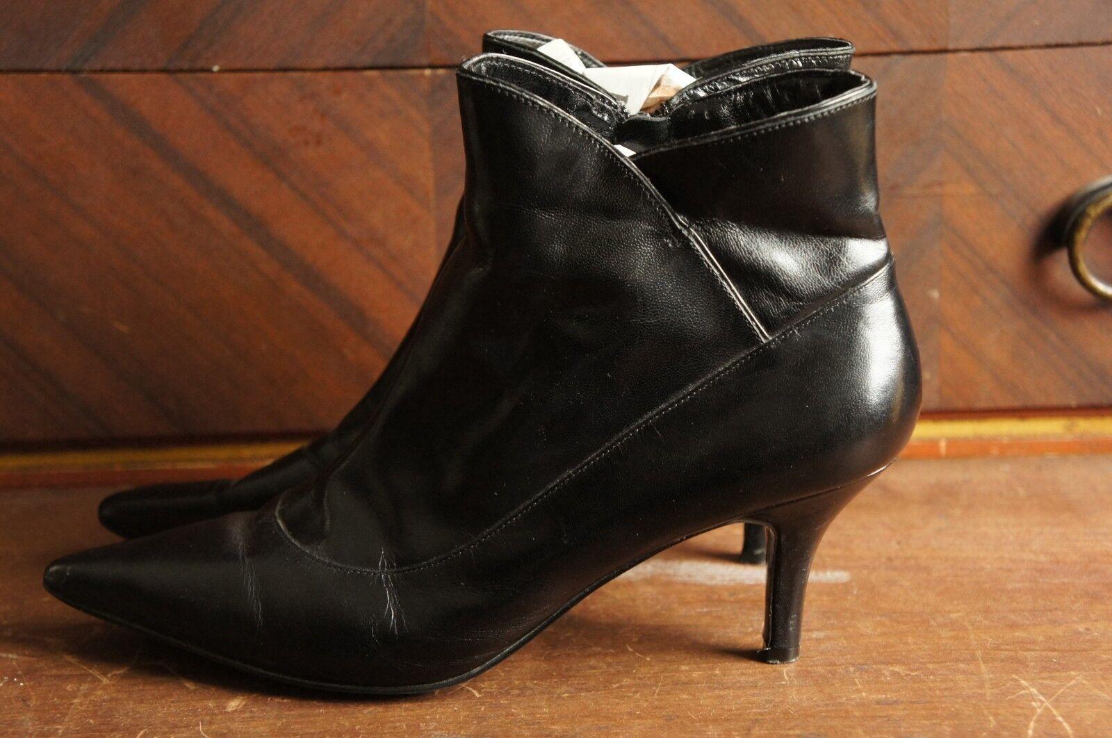 Bandolino Black Ankle Boot Heels Zipper Zip Up 7.5 M Dbalamodem Pointy Toe