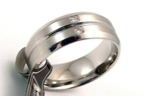 Genuine-Diamond-Wedding-Band-8-mm-Surgical-Steel-Comfort-Fit-Durable-Size-9