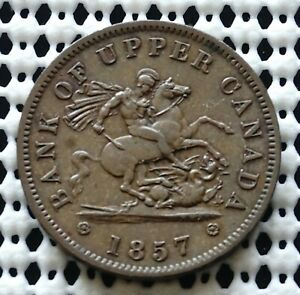 Bank Of Upper Canada Token 1857 ♛ Nice Old Token ♛ Breton #719