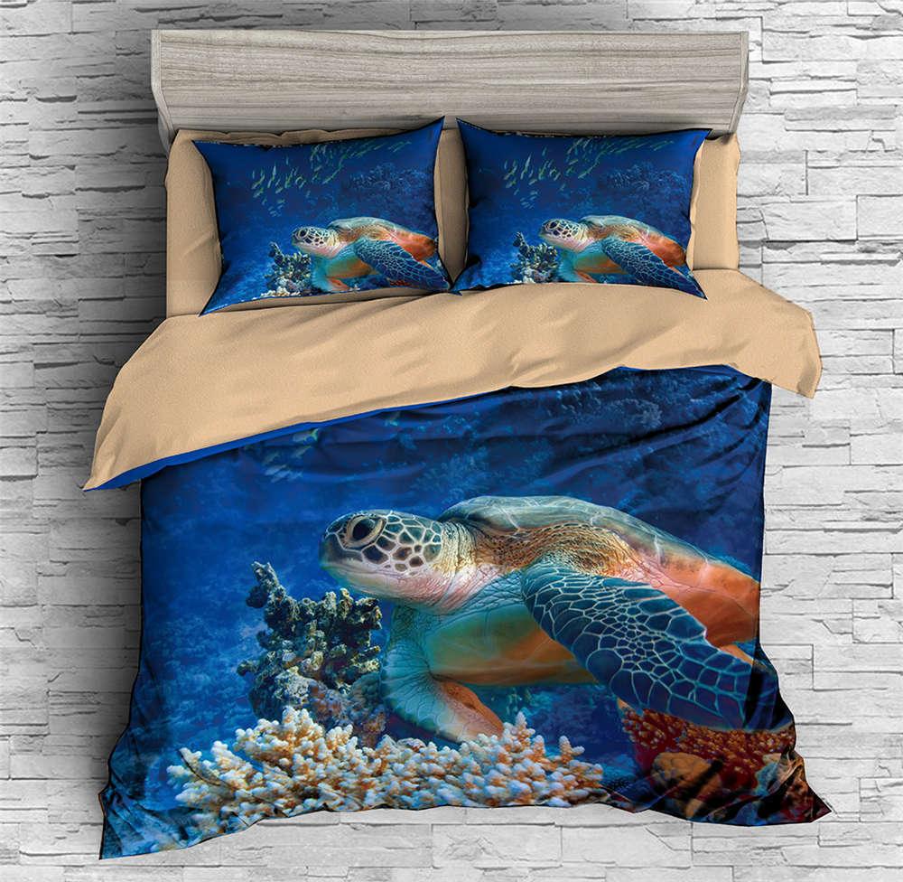 Turtles Pass Coral Bushes 3D Digital Print Bedding Duvet Quilt Cover Pillowcase