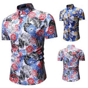 Floral-tops-short-sleeve-slim-fit-formal-dress-shirt-t-shirt-stylish-men-039-s