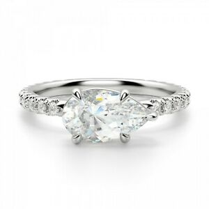 2.25 Ct Pear Cut Moissanite Engagement Ring 14K Bridal Solid White Gold Size 5