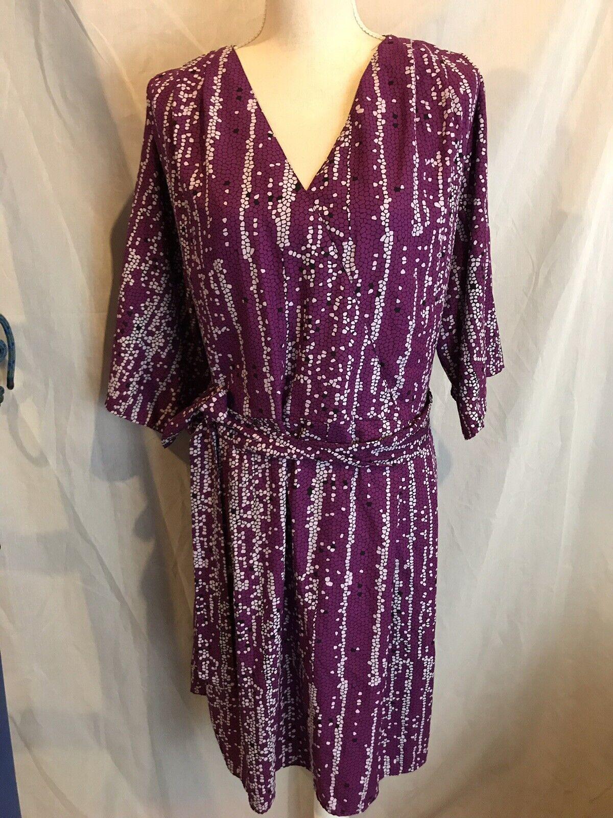 Mara Hoffman Gypsy Printed Faux Wrap Tie Waist Dolman Sleeve Rosa Tunic Dress 1X