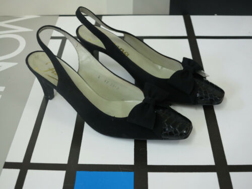 Black in scarpe vintage Suede '80 Sandals scamosciata Pumps 80's anni Vere 5 pelle qpax8wt