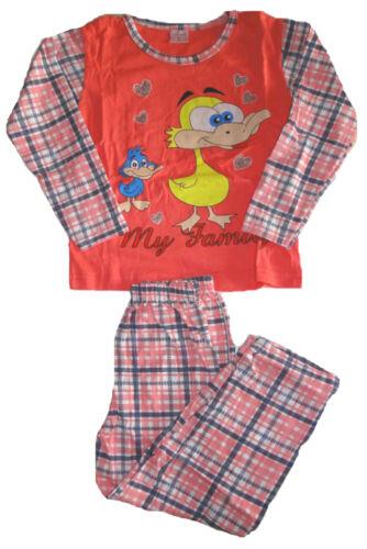 Mädchen Pyjama Hose kariert Schlafanzug langarm Nachtwäsche Kinder lustig Ente