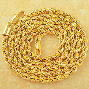 Mens-24k-Yellow-Gold-Plated-chain-Rope-Long-necklace-for-dog-tags-pendant-24in