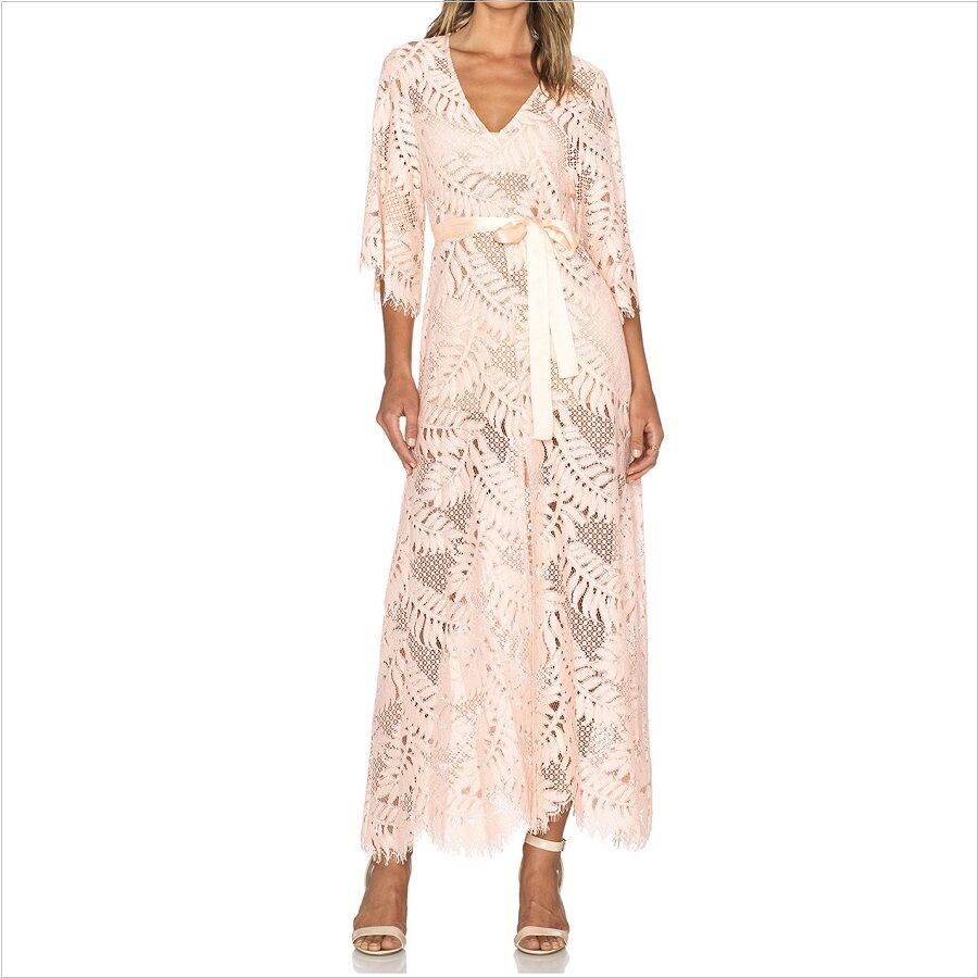 NWD ALEXIS  KEVEN  PINK SHEER LACE MAXI DRESS S SMALL