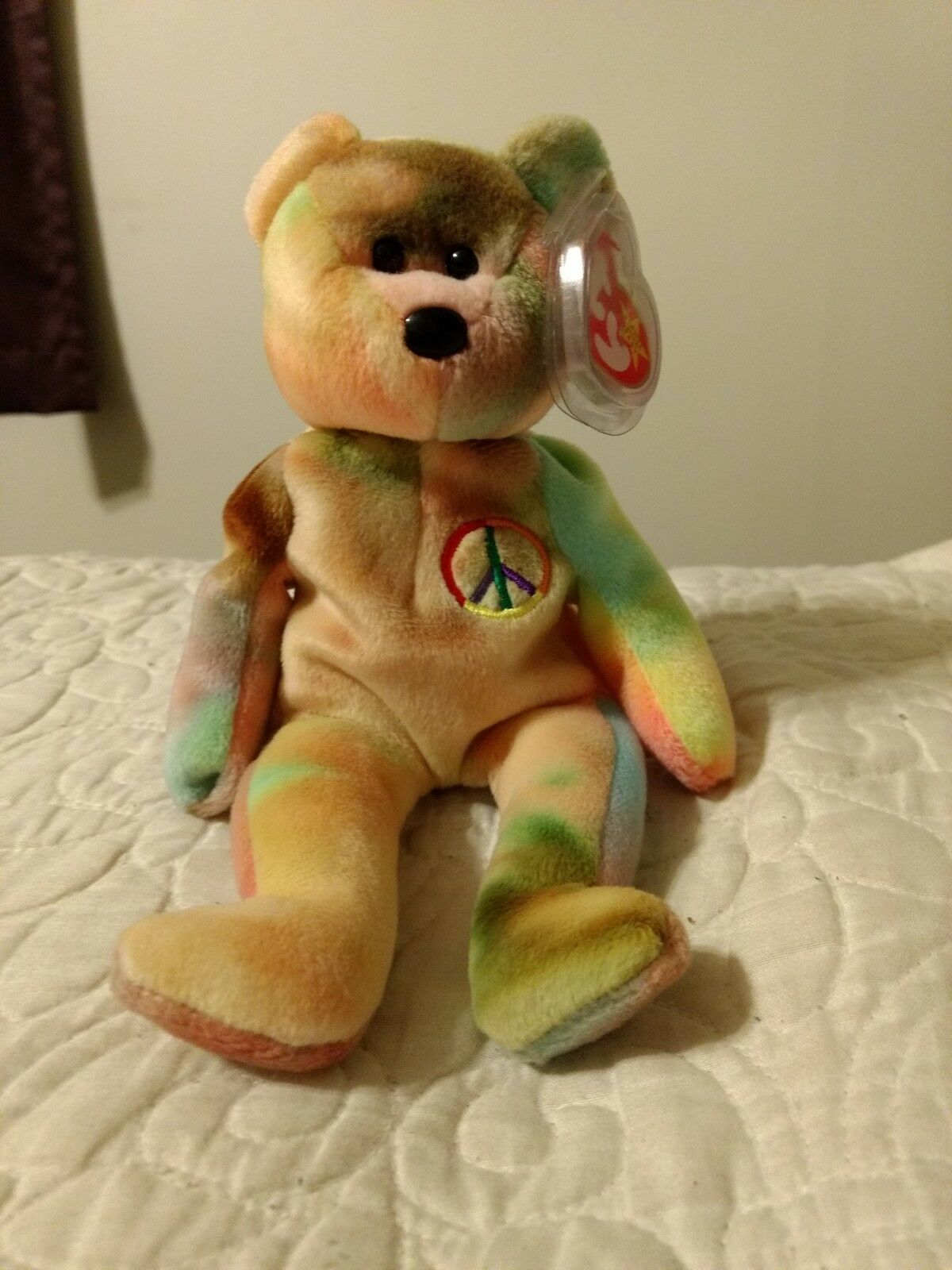 RARE Ty Beanie Babies, RETIRED, Peace Bear MINT CONDITION