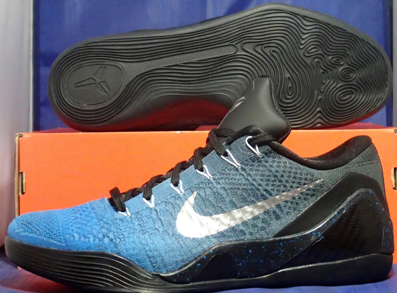 Nike Kobe IX 9 Elite Black Low Flyknit iD Blue Black Elite Silver SZ 12 ( 677992-994 ) cfeaa2