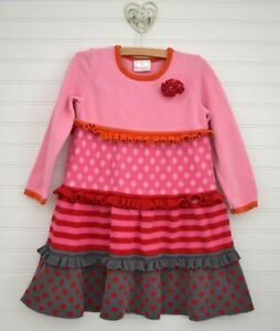 8a5aba2495 HANNA ANDERSSON Sz 110 - 4 5 6y Sweater Dress Tiered Ruffle Polka ...