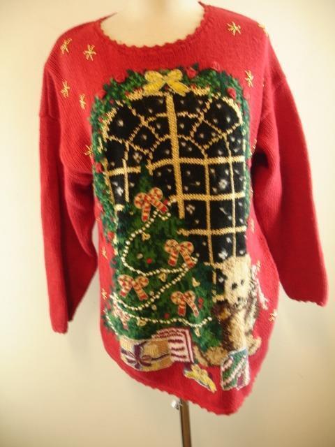 Womens sz L Mens M Tiara Tiara Tiara 1997 Christmas Sweater Red Teddy Bear Ugly Embroidered df4edf