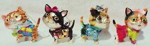 Set-4-Fancy-December-Diamonds-CAT-Kitten-Glass-Glitter-Xmas-Tree-Ornaments-5218